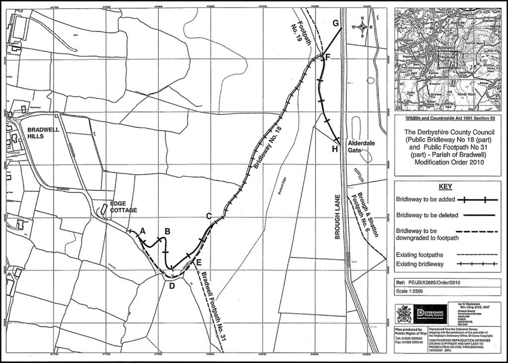 Map of the proposed new bridleway on Bradwell Edge