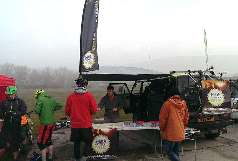 The Peak District MTB stand at the British Heart Foundation Dark Peak Challenge, March 2016