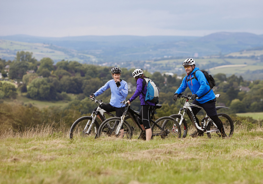 mountain bike riders Lyme Park peak district
