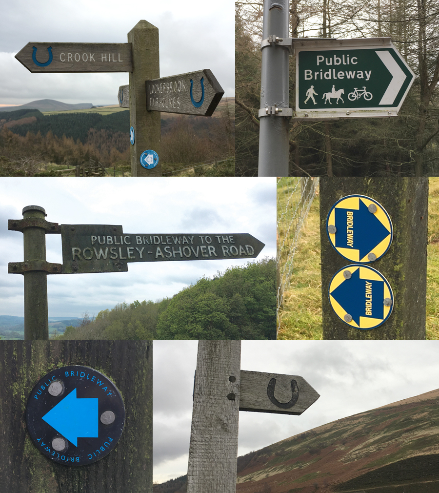 Bridleway signs in the Peak District