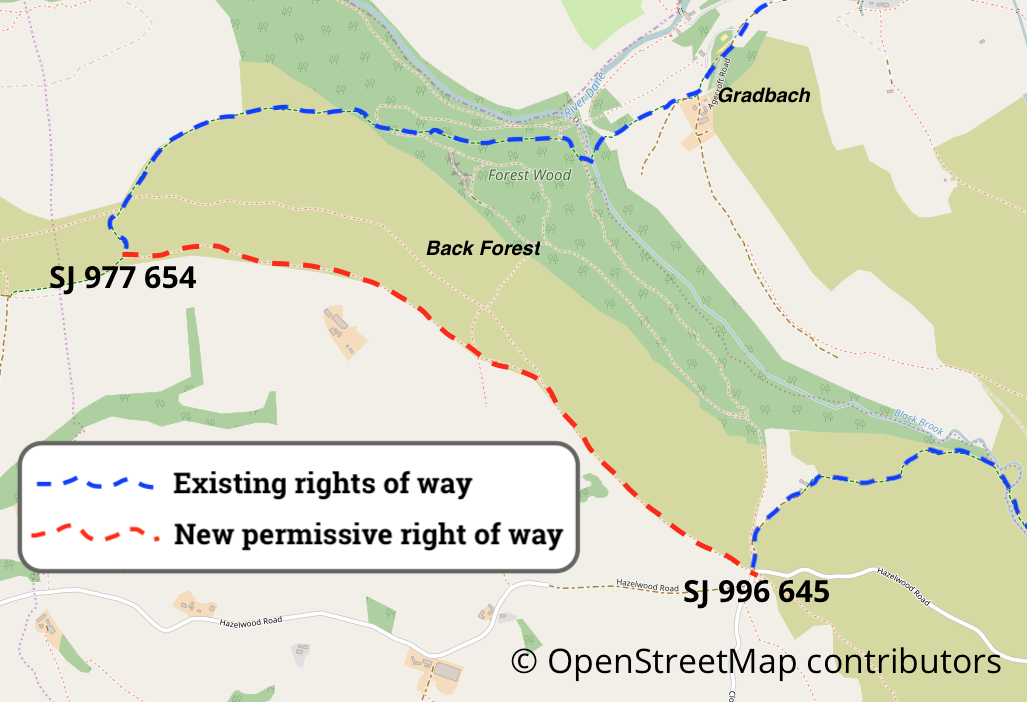 Map of new permissive cycleway at the Roaches